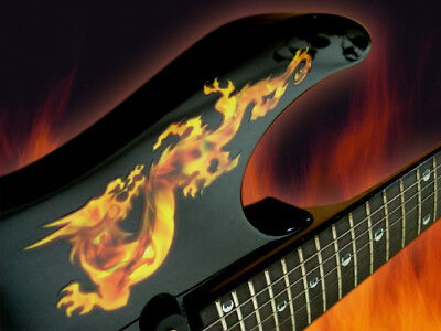 Real Fire Flame Dragon Sticker Decal For Guitar & Bass