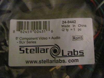 Stellar Labs 6ft 5 Component Video Audio Cable 24-9442