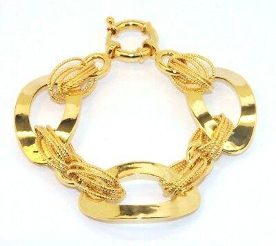 Technibond Triple Love Bracelet 14k Yellow 925 Silver