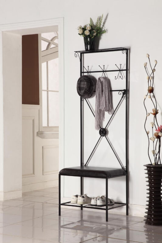 Kings Brand Black Metal Entryway Hall Tree Storage Rack with Bench ...
