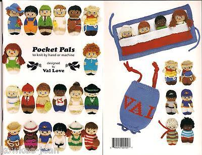 Pocket Pals, Hand Or Machine Knitting Patterns, Make 3.5 Dolls +pouch W/pockets