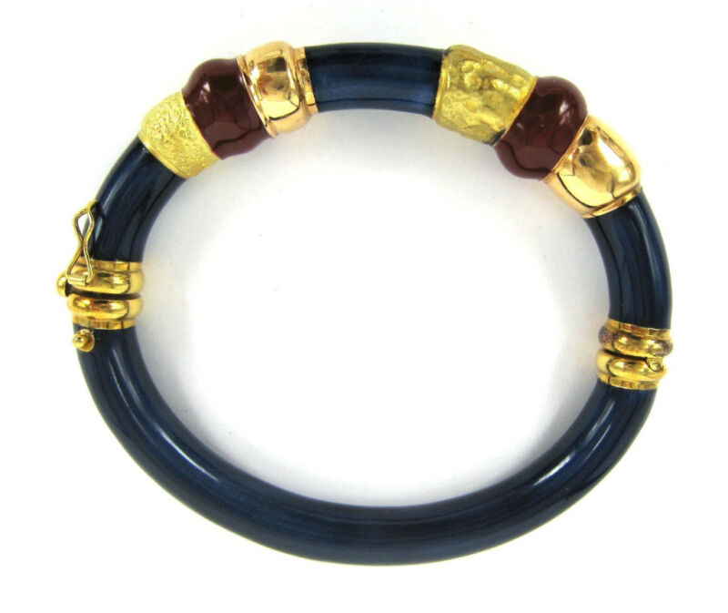 Estate Nicola Sacchini 18k Pink & Yellow Gold Blue & Red Enamel Hand Made Bangle