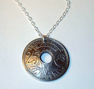 COIN JEWELRY~ANTIQUE FRENCH COIN NECKLACE