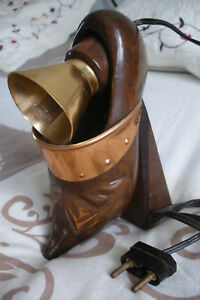 Ancienne lampe de chevet sabot en bois ebay for Lampe de chevet ancienne