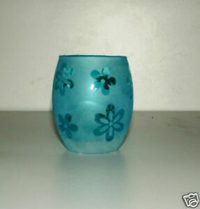 Etched Glass Effect T Light Holder Daisy Design Blue Ebay