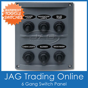 6 GANG WATERPROOF TOGGLE SWITCH PANEL with 15A Blade Fuses - Marine/Boat/Caravan