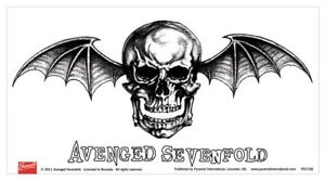 AVENGED SEVENFOLD skull 2011 oblong VINYL STICKER official merchandise
