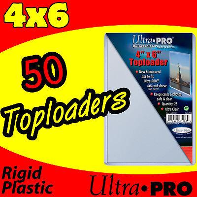 50 Ultra Pro 4x6 Hard Rigid Top Load Toploader Postcard Photo Holder Sleeves