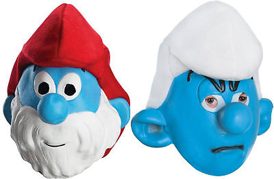 Adult TV The Smurfs Papa Smurf & Grouchy Costume Mask - Papa Smurf Adult Costume