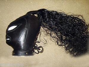 BLACK-Real-LEATHER-Creature-mask-gimp-face-hood-slave