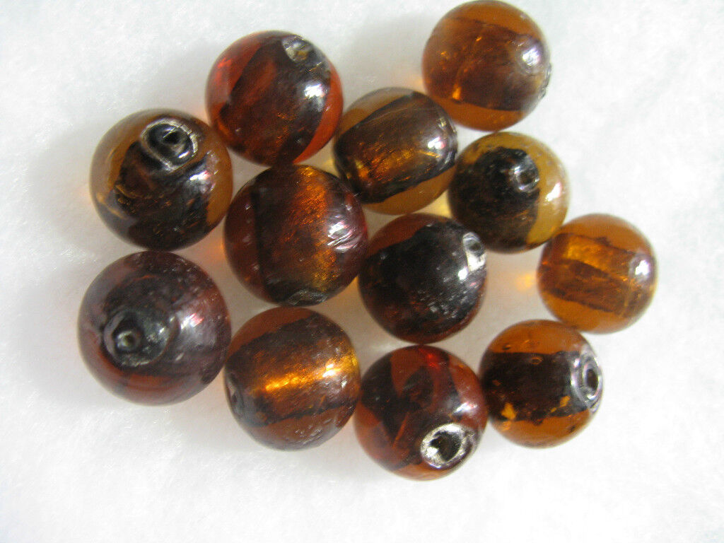Glass Beads 14 - 16mm Rootbeer Brown Beads Jewelry Findings 12
