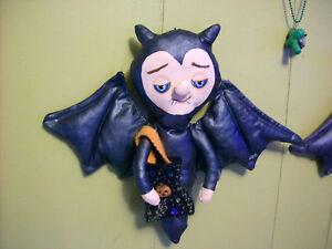 BAT-VAMPIRE-BOY-DOLL-OOAK-Halloween-wall-figure-Blueyes-handmade-cloth-folk-art