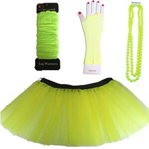 NEON UV TUTU GLOVES LEG WARMERS + BEADS 1980S FANCY DRESS COSTUME