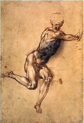 Michelangelo Drawings: Twisting Figure - Fine Art Print