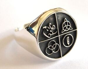 STERLING-SILVER-925-LED-ZEPPELIN-BAND-FOUR-SYMBOL-RING