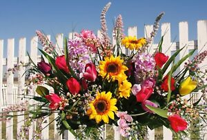 Mothers-Memorial-Day-Tombstone-Saddle-Hyacinth-Lilac-Sunflower-Headstone-Flowers