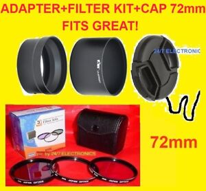 CAMERA-LENS-ADAPTER-S3200-FILTER-KIT-CAP-72mm-FUJI-S3200HD-S3250HD-S3250-FinePix