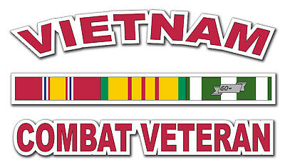 "Vietnam w/ Ribbons Combat Veteran 5.5"" Red Window Sticker Decal"
