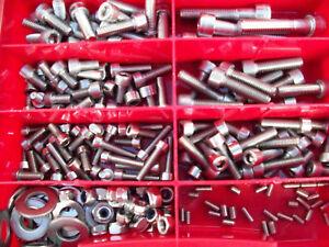 224-PIEZAS-ACERO-INOX-Tornillos-Set-Caja-BICICLETA-DIN-912-acero-inoxidable-V2A