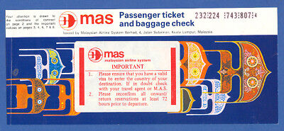 Mas Malaysian Airlines Passenger Ticket Part Page 2