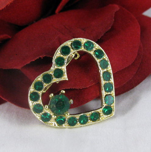 Vintage Dazzling Green Rhinestone Heart Pin  CAT RESCUE