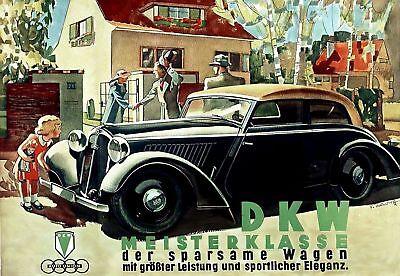 Plakat: DKW Meisterklasse Wagen 1936, Oldtimer Reprint