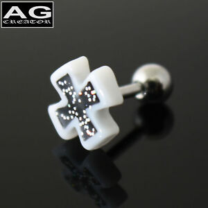 WHITE-CROSS-GLITTER-EARRING-STUD-PIERCING-18g