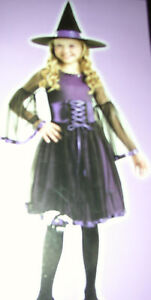 NEW GIRLS MIDNIGHT WITCH COSTUME PURPLE & BLACK SMALL