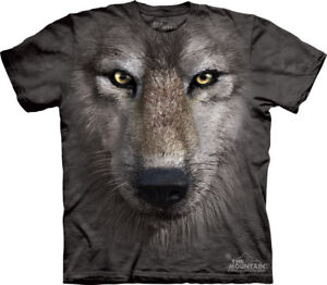 THE-MOUNTAIN-WOLF-FACE-WILD-ANIMAL-FACE-T-SHIRT-L