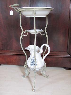 Waschset Seifenschale Krug Schüssel blau verz. Porzellan / Keramik mit Ständer