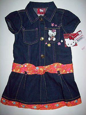 Hello Kitty Dress Girls Size 2t 3toddler Blue Denim Canvas Pleated Sanrio