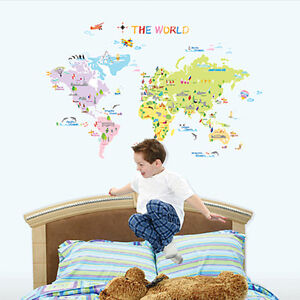 WORLD-MAP-Kids-Room-Nursery-Wall-Decor-Stickers-Decal