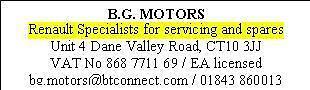 BG Motors Renault Spares