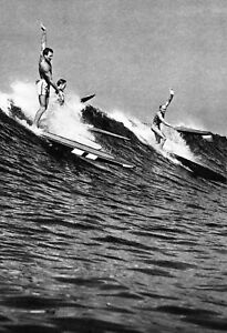 Surfing Poster, Hawaiian Surfers 1930, Hawaii, Waves