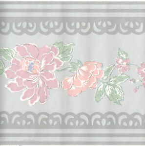 Pastel color peach floral gray lace wall paper border ebay - Pastel lace wallpaper ...