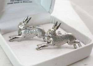Running Hare Cufflinks in Fine English Pewter (rabbit)