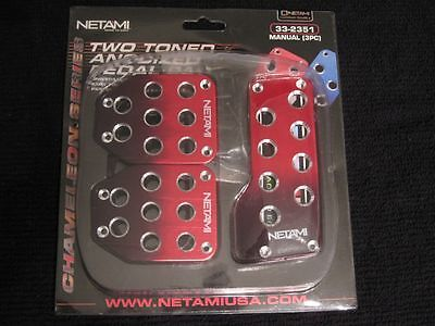 NEW NETAMI MANUAL PEDAL PADS RED & BLACK PEDALS COVERS