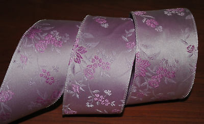 Luxury Wired Ribbonpastel Purple Japanese Flowerlilacorchid2.5jacquardbow