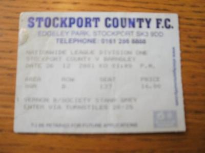 26/12/2001 Ticket: Stockport County v Barnsley  (Crease