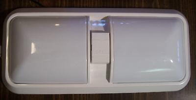NEW SET OF 2 12V 12 VOLT DOUBLE PANCAKE CEILING LIGHT WITH SWITCH RV CAMPER BUS