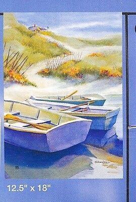 Row Boats Gone Ashore Small Garden Banner Flag 12.5x18 Coastal Ocean Lake Decor