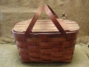 Vintage-Weaved-Picnic-Basket-Antique-Box-Boxes-Wooden