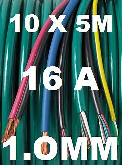 50M AUTOMOTIVE CABLE KIT 1MM 16A CAR  BOAT LOOM WIRE 50 METRES, 10 X 5M