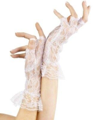 80er Jahre 1980er Fingerlose Spitzenhandschuhe Weiß Kostüm Madonna von Smiffys