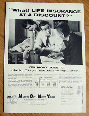 1958 Mony Mutual Of New York Life Insurance Company Ad