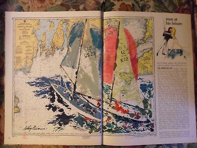 1966 Magazine Art Page Leroy Neiman America's Cup Sailing Sailboat Race