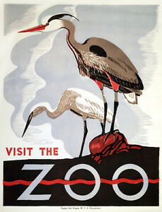 Vintage-POSTER-Stylish-Graphics-Cranes-Visit-Zoo-Art-Wall-Decor-1116