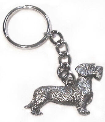 Dachshund Wire Haired Dog Fine Pewter Keychain Key Ring