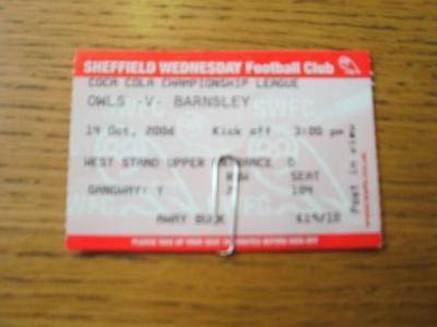 14/10/2006 Ticket: Sheffield Wednesday v Barnsley  [Red