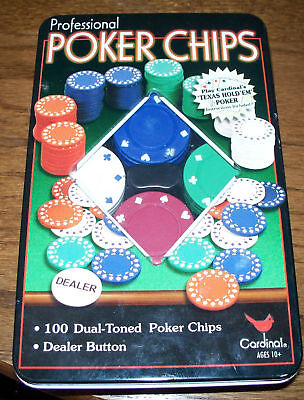 CARDINAL PROFESSIONAL POKER CHIPS 100 GREEN HEAVY WEIGHT DUAL-TONED NEW IN BOX Toys